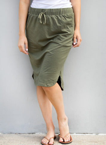 Solid Weekend Skirt - Olive - Tickled Teal LLC