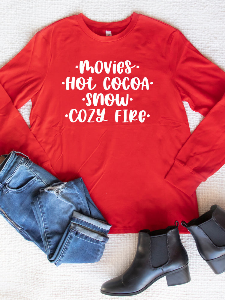 Movies Hot Cocoa Snow Cozy Fire Graphic Tee
