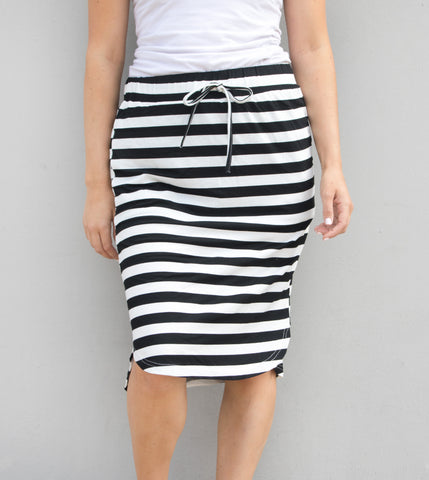 Thick Stripe Weekend Skirt - Black - Tickled Teal LLC