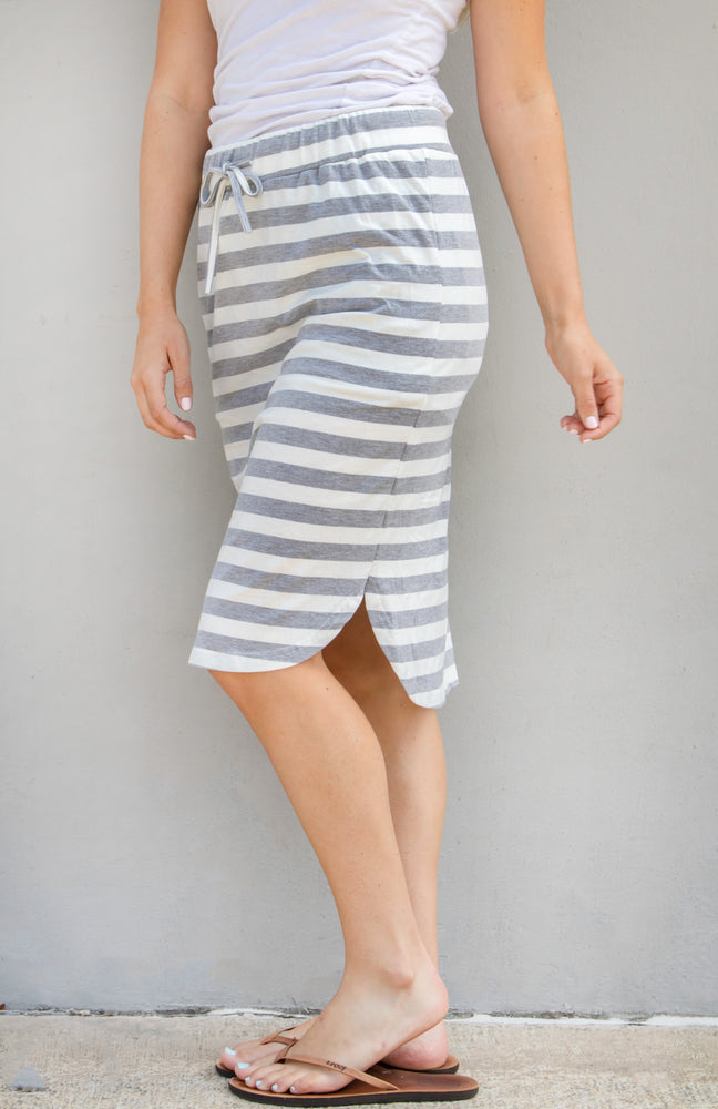 Large Stripe Weekend Skirt - Gray - Tickled Teal LLC