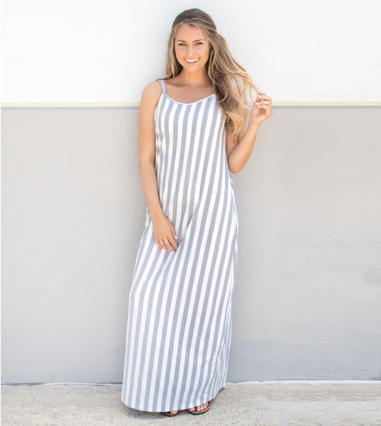 Striped Everyday Tank Dress - Gray - Tickled Teal LLC