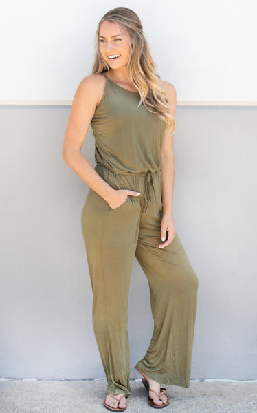 Everday Tank Jumpsuit - Olive