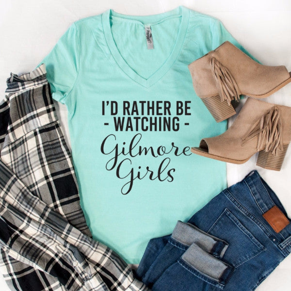 I'd Rather Be Watching Gilmore Girls Tshirt - Tickled Teal LLC
