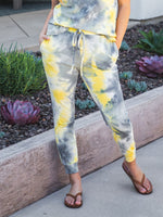 Tie Dye Jogger Pants - Gray/Yellow