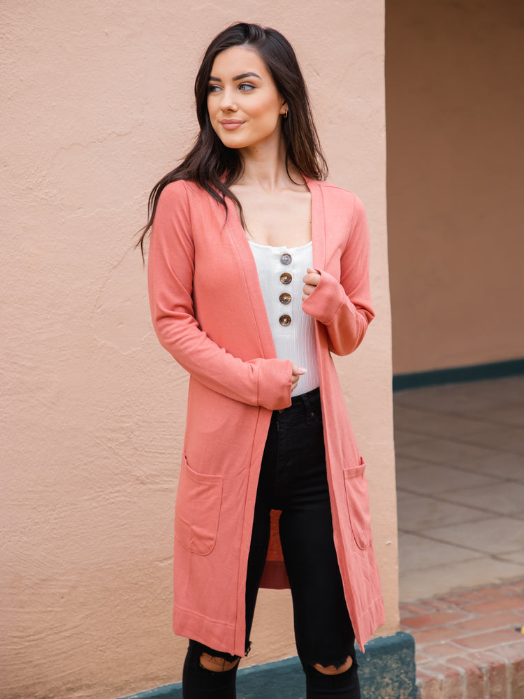 Peach Pocket Cardigan