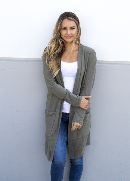 Soft & Comfy Cardigan - Olive - Tickled Teal LLC