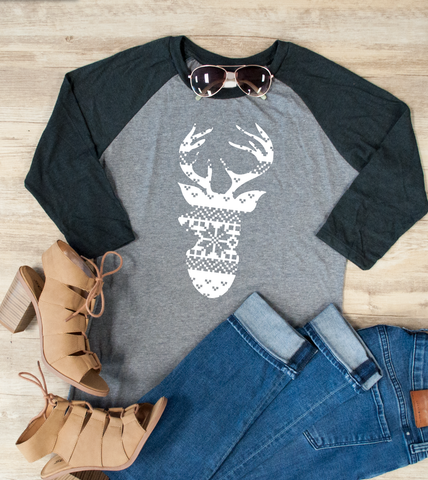 Christmas Reindeer Graphic Raglan Tee - Tickled Teal LLC