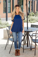 Scallop Edge Top - Navy - Tickled Teal LLC