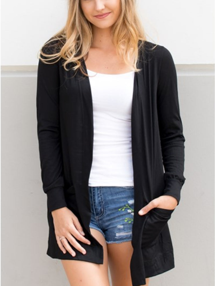 Long Sleeve Boyfriend Cardigan - Black