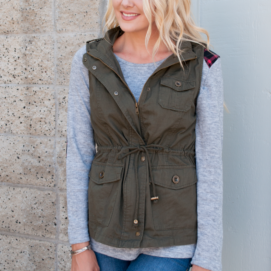 Army Green Utility Vest - Tickled Teal LLC