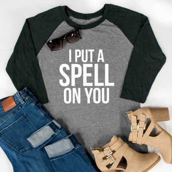 I put a spell on you Raglan Tee - Tickled Teal LLC