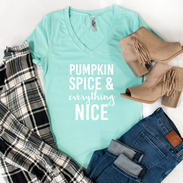 Pumpkin Spice & Everything Nice Tshirt - Tickled Teal LLC
