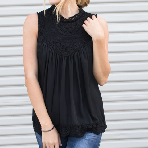 Lace Detail Tank - Black