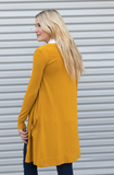 Long Pocket Cardigan - Mustard - Tickled Teal LLC