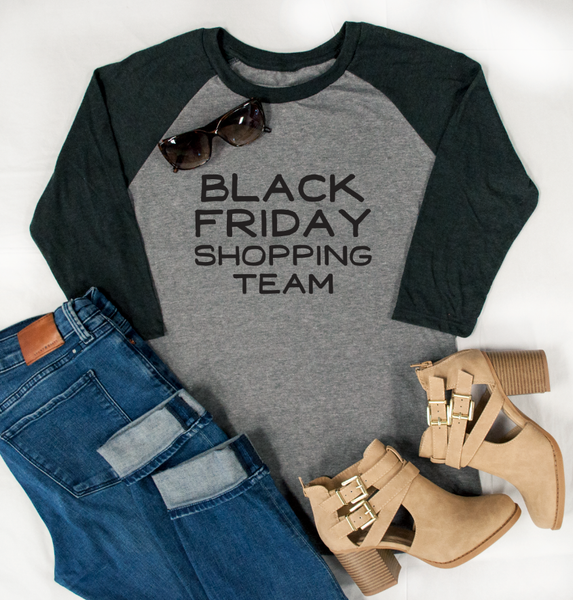 Black Friday Shopping Team Raglan Tee - Tickled Teal LLC