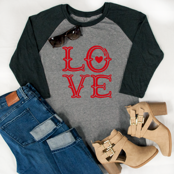 (Red) LOVE Raglan Tee - Tickled Teal LLC