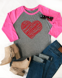 Scribble Heart Raglan Tee - Tickled Teal LLC