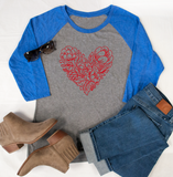 Flower Heart Raglan Tee - Tickled Teal LLC
