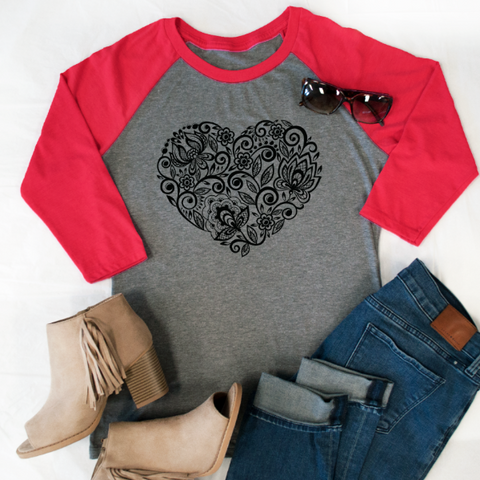 (Black) Floral Heart Raglan Tee - Tickled Teal LLC