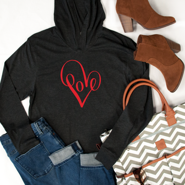 Love heart Graphic Hoodie - Tickled Teal LLC