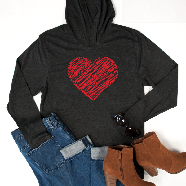 Scribble heart Graphic Hoodie - Tickled Teal LLC