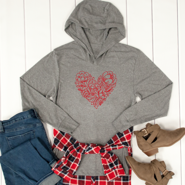 Red Flower Heart Graphic Hoodie - Tickled Teal LLC
