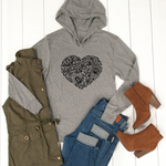 Floral Heart Graphic Hoodie - Tickled Teal LLC