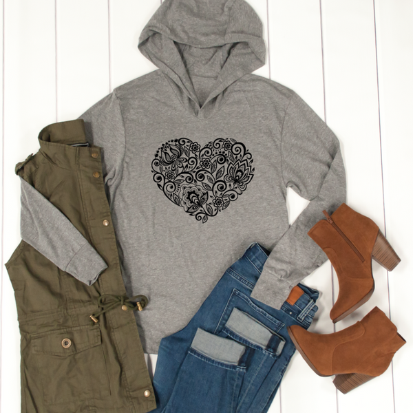 Floral Heart Graphic Hoodie