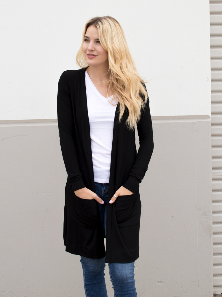 Long Pocket Cardigan - Black - Tickled Teal LLC