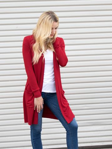 Long Pocket Cardigan - Cranberry