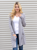 Long Pocket Cardigan - Gray