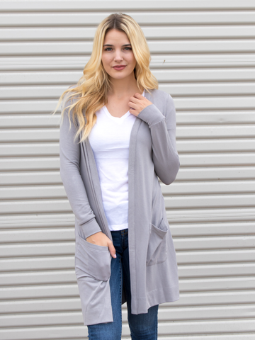 Long Pocket Cardigan - Gray - Tickled Teal LLC