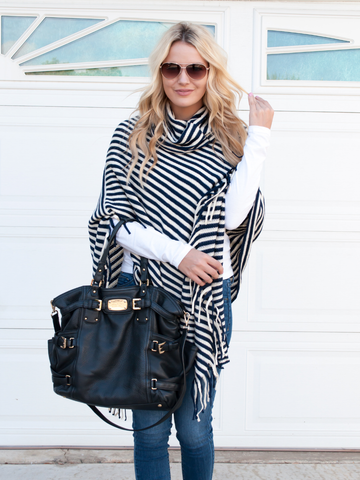 Stripe Poncho - Black & White - Tickled Teal LLC