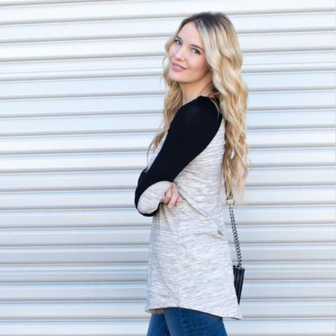 Elbow Patch Raglan Tunic