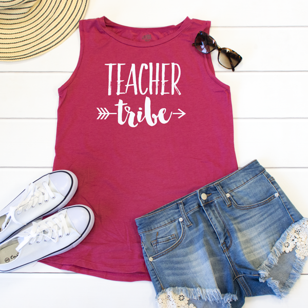 Teacher Tribe Muscle Tank - Tickled Teal LLC