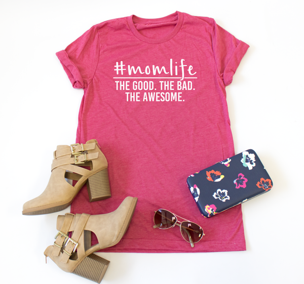 #momlife The Good. The bad. The Awesome. Crew Neck Tee - Tickled Teal LLC
