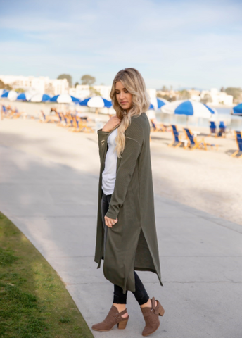 Spring Duster Cardigan - Olive