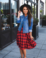 Plaid Laura Skirt - Red