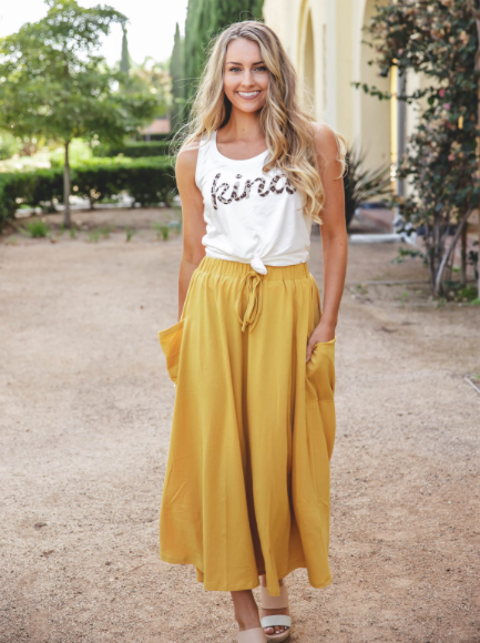 The Olive Pocket Skirt - Yellow