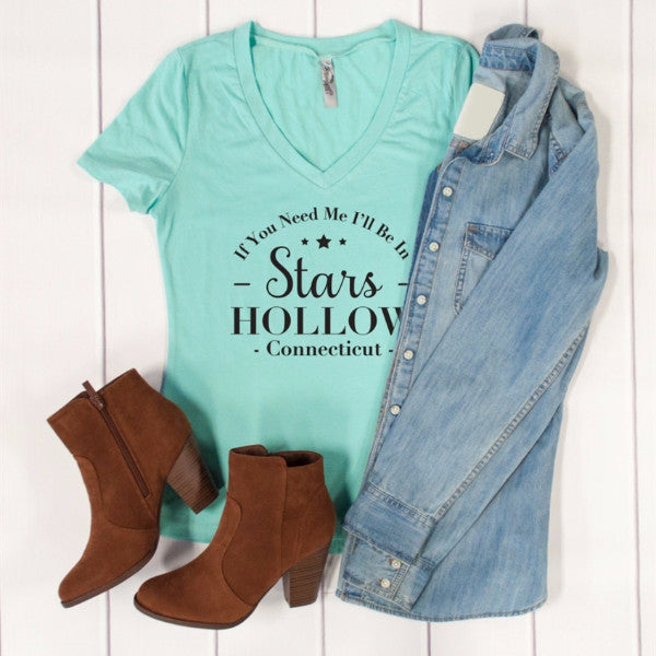 If You Need Me I'll Be In Stars Hollow Connecticut Tshirt - Tickled Teal LLC