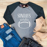 Sunday's Are for Football Raglan Tee - Tickled Teal LLC