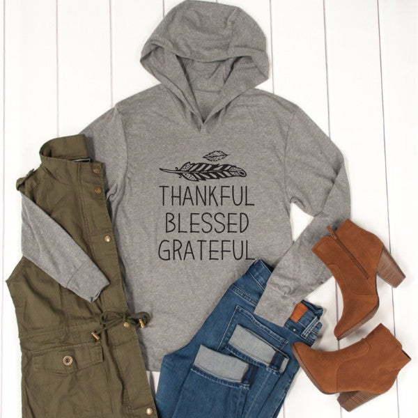 Thankful Blessed Grateful Graphic Hoodie