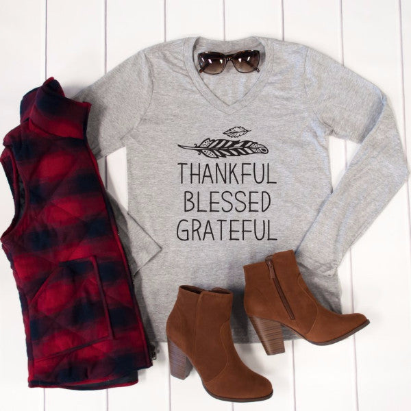 Thankful Blessed Grateful Long Sleeve