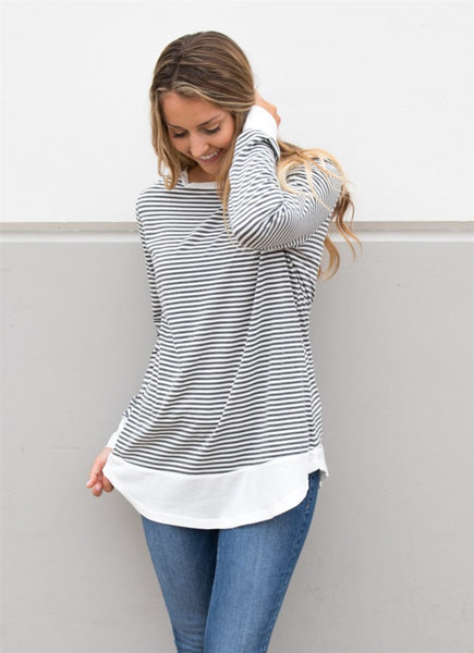 Striped Paige Top - White - Tickled Teal LLC