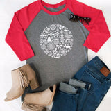 Winter Circle Raglan Tee - Tickled Teal LLC