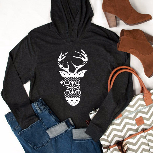 Ugly Sweater Reindeer Graphic Hoodie - Tickled Teal LLC