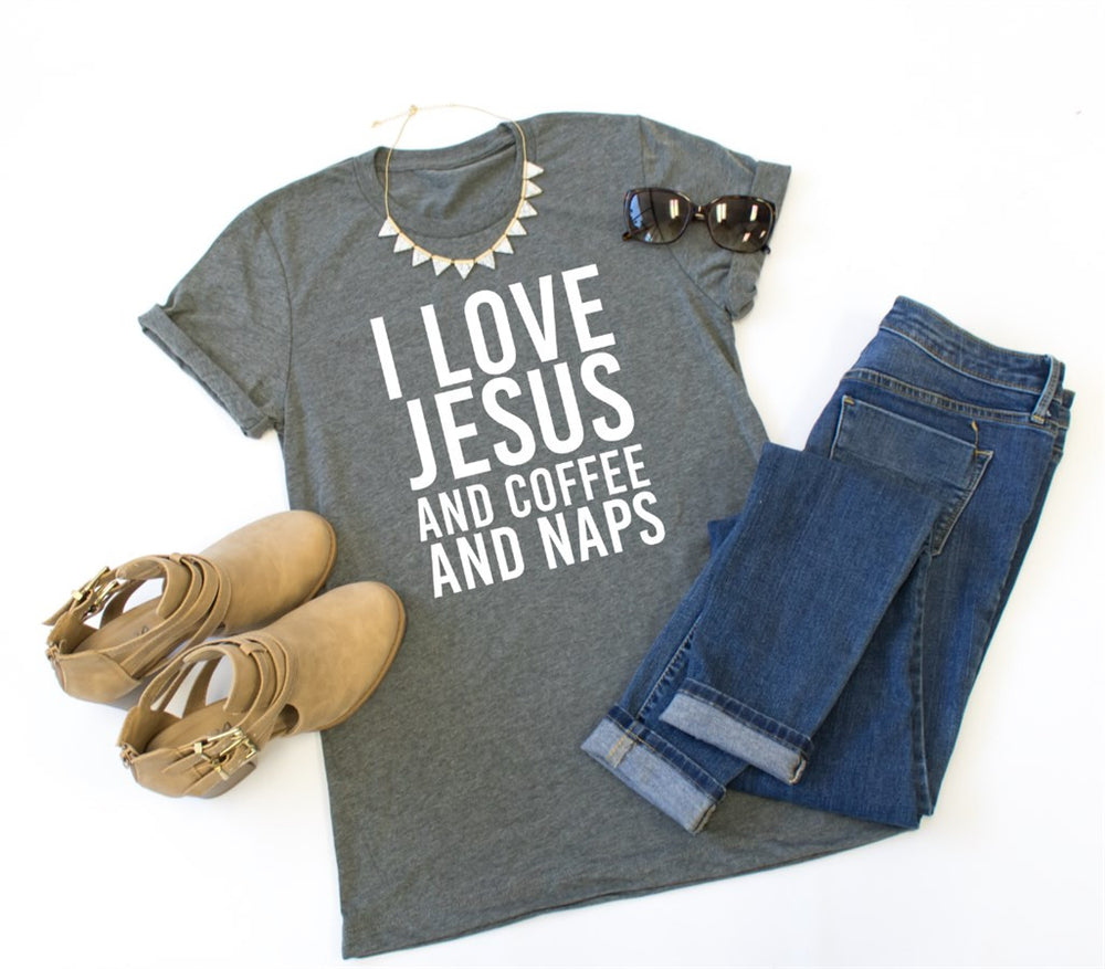 I Love Jesus and Coffee and Naps Crew Neck Tee - Tickled Teal LLC