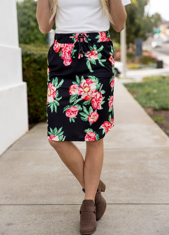 Ava Floral Weekend Skirt | S-3X - Black
