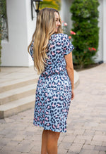Cheetah Kolbie Dress - Blue / Pink
