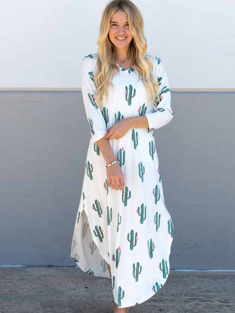 3/4 Sleeve Cactus Relaxed Maxi